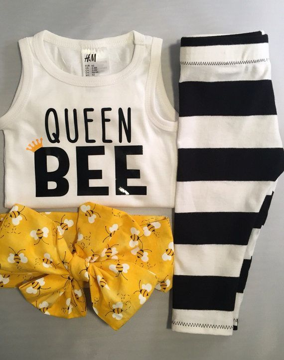 Baby Shirt & Matching Headwrap Queen Bee by knotsandthreads1