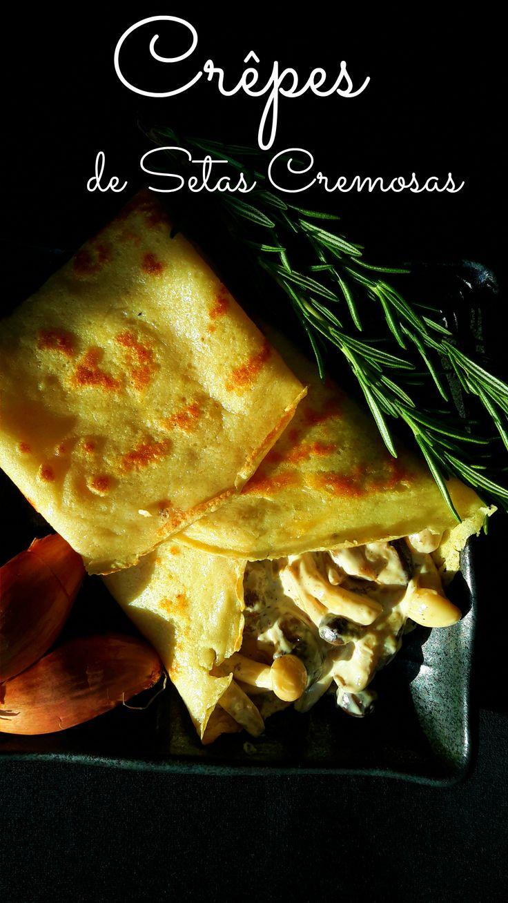 Una receta para crêpes y su relleno de setas cremosas. Un plato vegetariano, facil a preparar y elegante.