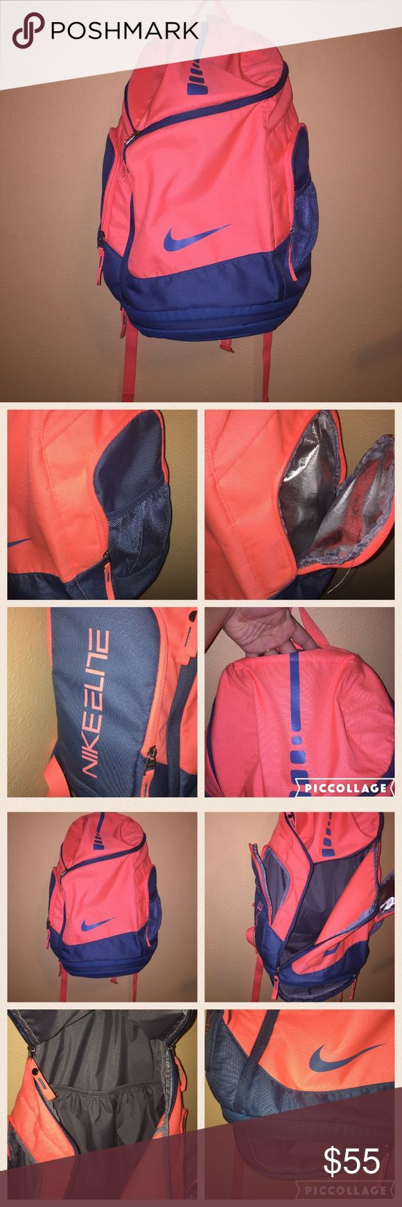 Nike Air Max elite backpack Very Gently used. The colors just pop out at you! Has two pockets on the side, one is insulated. The other has a mesh pocket on the outside. Has a bottom zipper compartment for shoes. Has a pocket on the very top. Padded straps with a strap for across the chest. Straps have VERY light discoloration from wear. I wish i used it more. Its about 24inches wide and 15inches long. No trades please. If you'd like to make an offer, please submit it. Any questions? Just ask…