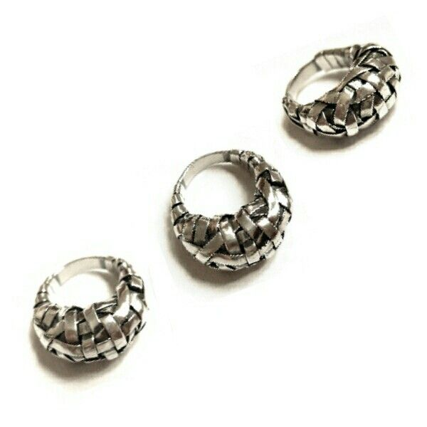 woven series cocoon rings crafted to order in silver by gurgel-segrillo