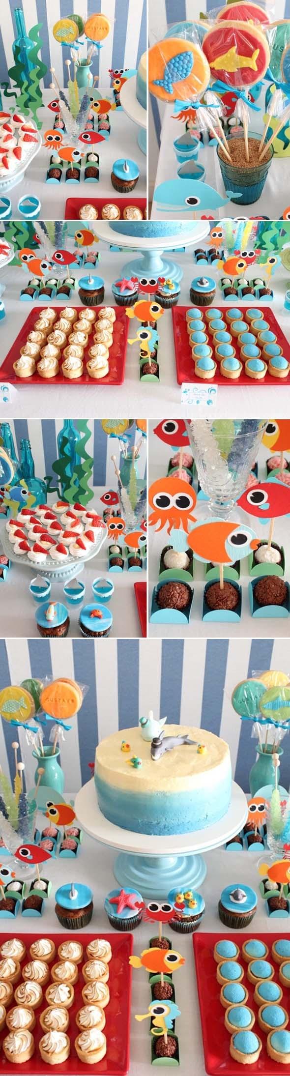 Thème anniversaire marin, pour les enfants fans de poissons!