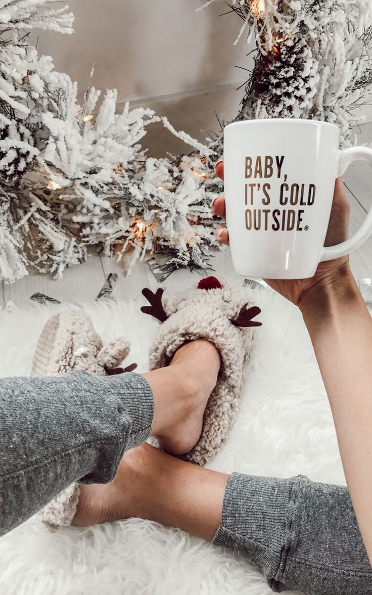 Baby, It's Cold Outside <3 #ily #couture #mug #reindeer #slippers #gift #ideas