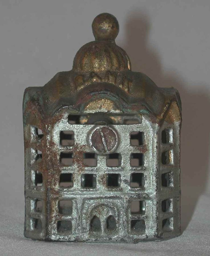 Antique Small Cast Iron Still Penny Bank Domed Bank Building With Golden Roof For Your Penny Bank Collection