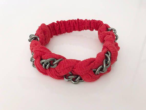 Braided headband with a chunky chain chain headband red