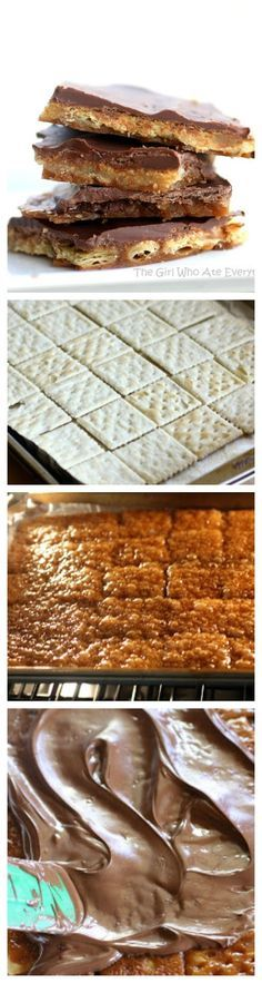 Saltine Cracker Toffee - a tried and true recipe my grandma used to make. Easy and so addicting. the-girl-who-ate-everything.com