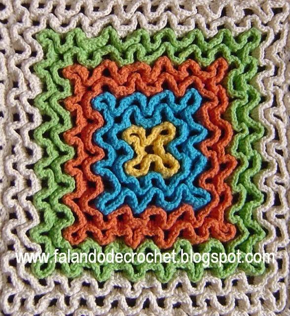 """Crochet onto filet crochet - """"wiggly crochet"""" in 3D."""