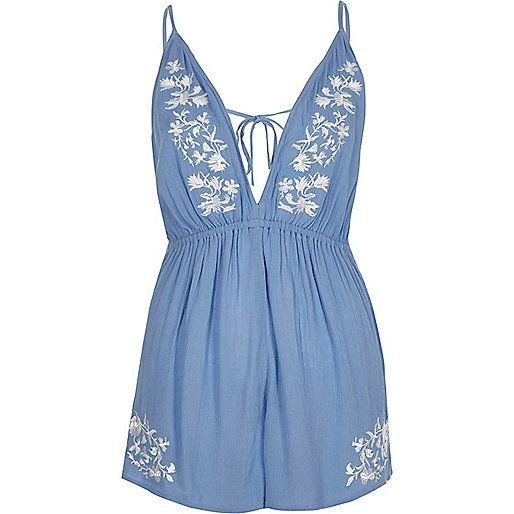 Blue and white playsuit from River Island