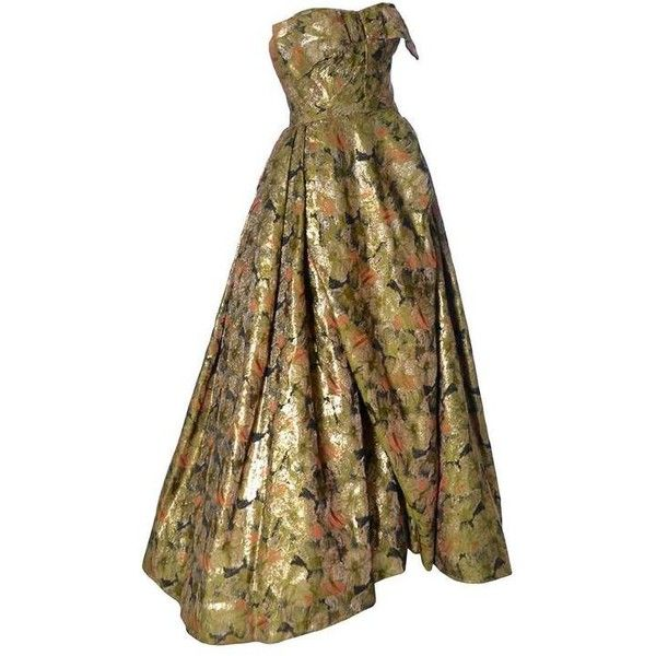Preowned Michael Novarese 1960s Vintage Ballgown Dress Gold Floral... (£1,700) ❤ liked on Polyvore featuring dresses, gowns, vintage, multiple, gold formal gown, gold formal dresses, floral gown, gold evening gowns and vintage formal gown