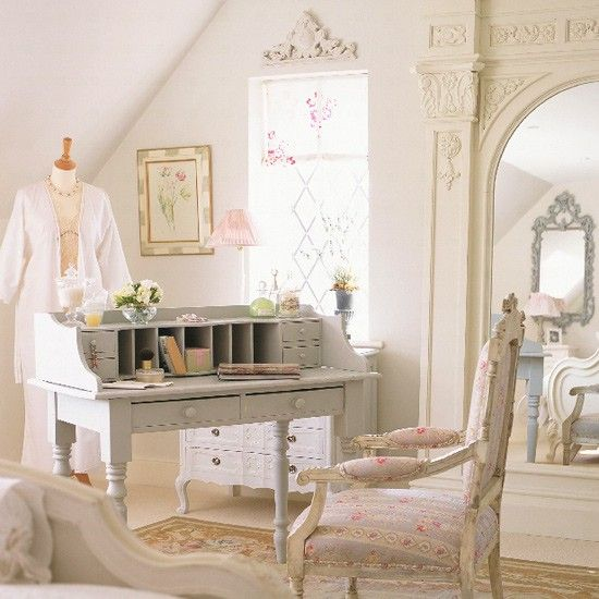 vintage looking bedroom furniture. French-style Bedroom. A Grey Belle Maison Writing Desk Turns Bedroom Corner Into Vintage Looking Furniture