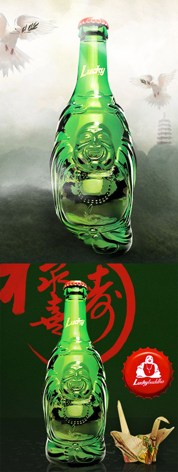 Lucky Buddha Beer in the wonderful Buddha shaped bottle.