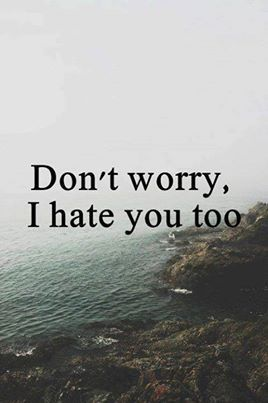 Don't worry, I hate you too. (;