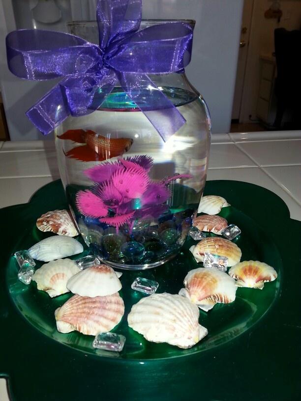Betta fish gift centerpiece for little mermaid birthday for Little mermaid fish tank