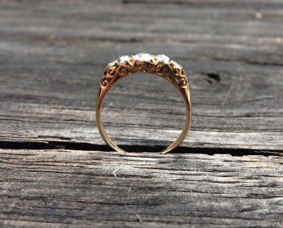 Late Victorian 18ct gold diamond three-stone от ArtJewelsStore