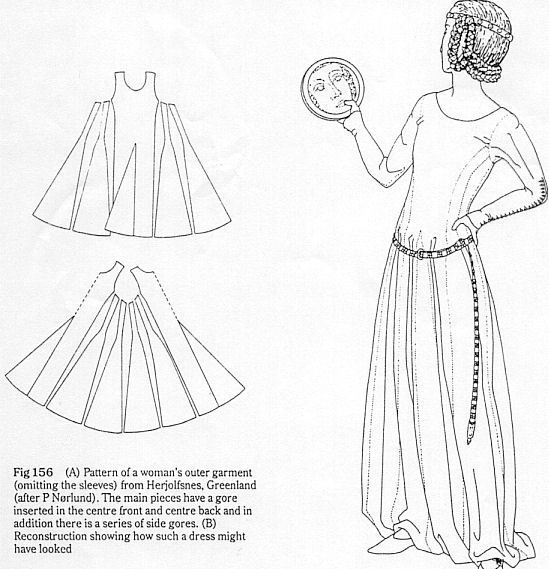 Cotehardie diagram from the Museum of London\'s Textiles and Clothing book.
