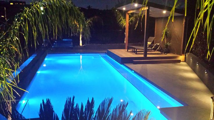 Pool and landscape at night