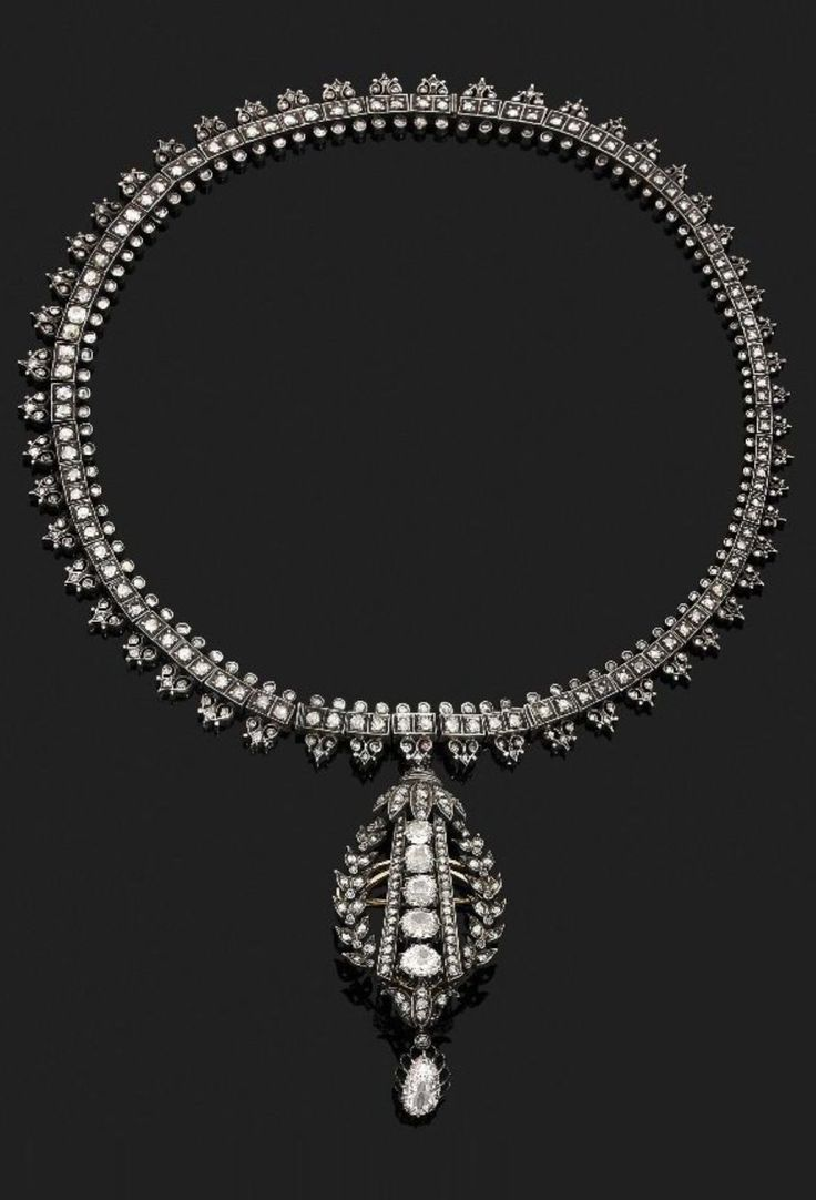 An antique gold, silver and diamond convertible necklace, French, circa 1860. Can be transformed into two bracelets and a pendant or brooch. #antique #necklace #bracelet #pendant #brooch