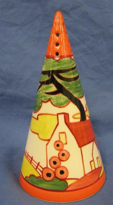 Wedgwood Clarice Cliff 'Bizarre' conical sugar Sifter