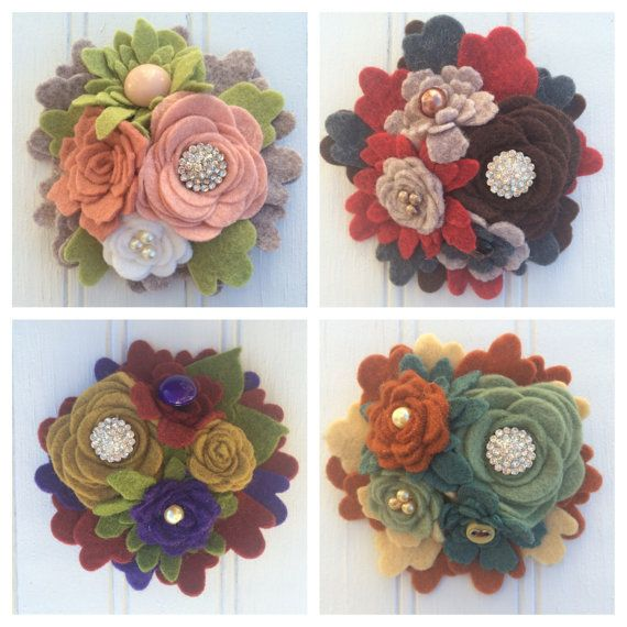 Felt Handemade Pin or Clip Bouquet of Flowers Pin by PipersPansies