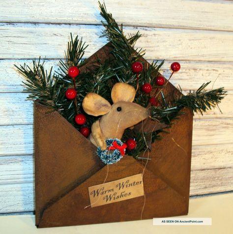 primitive mice creations   Primitive Folk Art Handmade Country Mouse Doll Christmas Rusty Tin ...