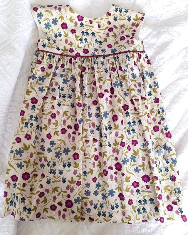 Geranium dress for a three year old. Hope she likes it! #geraniumdress #liberty #libertyprint #sewing #imadeit