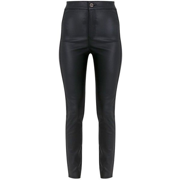 Tyris Black Leather Look Coated Skinny Trousers (75 BAM) ❤ liked on Polyvore featuring pants, faux leather trousers, vegan leather pants, faux leather skinny pants, imitation leather pants and faux-leather pants