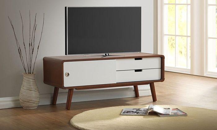 2-Drawer Wood TV Cabinet with Sliding Door