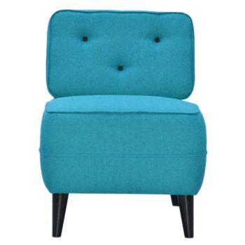 fauteuil tissu turquoise boutons noir