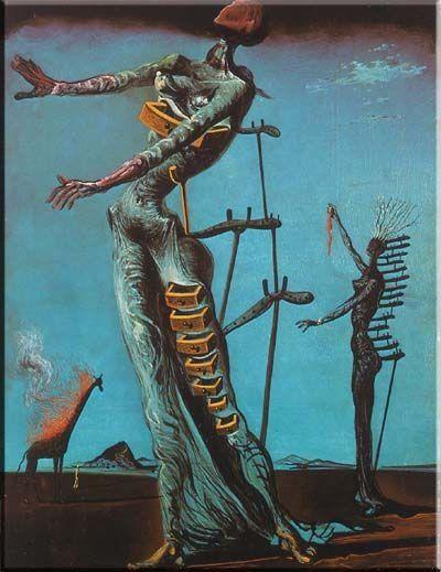 Płonąca żyrafa Dali namalował ten obraz w 1937 roku. Na pierwszym planie znajduje się postać kobiety, z jej pleców wystają dziwne maczugi podparte inwalidzkimi kulami. Wyciągnięte ręce szukają oparcia w przestrzeni. Z ciała kobiety wyłaniają się półotwarte, puste szuflady. Tytułowa płonąca żyrafa została zepchnięta przez artystę na dalszy plan. Sam twórca przyznał, że obraz jest alegorią freudowskiej psychoanalizy.