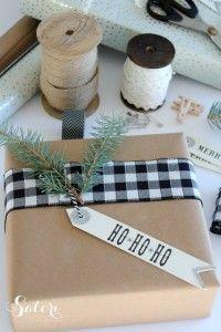 Vintage Glam Christmas Gift Wrap - black and white buffalo check ribbon with fresh greens - Satori Design for Living