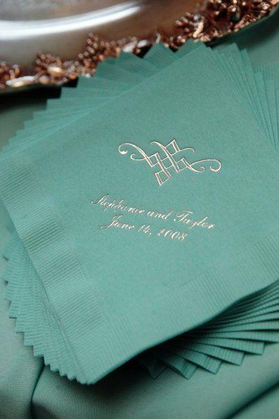 Tiffany blue wedding reception napkins