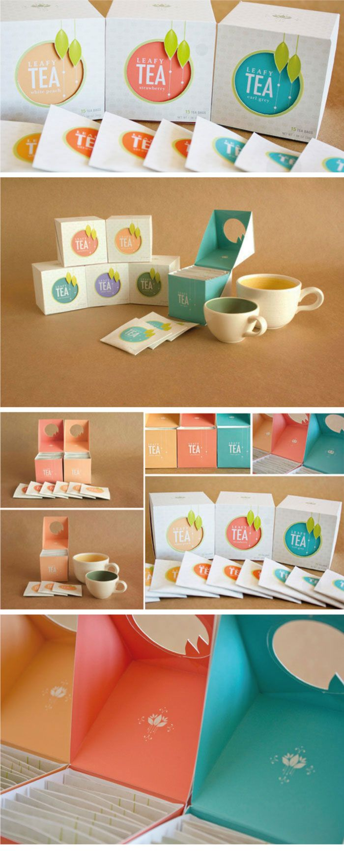 More branding: a different way to think about tea. This is clean, colorful and bright whereas some tea-related designs focus on the detail of the tea leaves themselves. The balance of bright color and delicate detail is very well done.