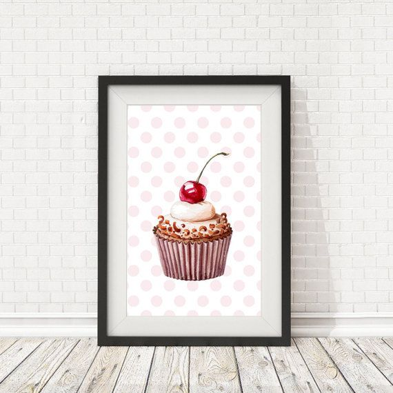 Cupcake Print Kitchen decor Cupcake poster by BatLabPrintables