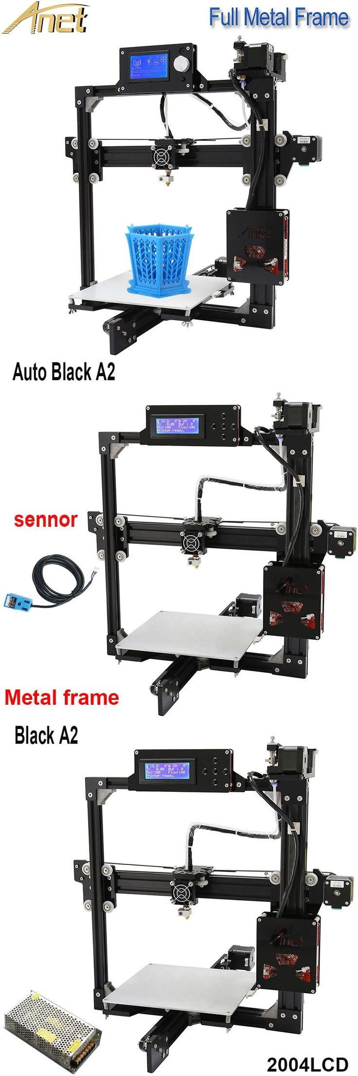 [Visit to Buy] Anet A2 impresora 3d Auto Leveling Optional Full Metal Frame Anet A2 3D Printer Kit DIY Easy Assemble with Free 10m Filaments  #Advertisement