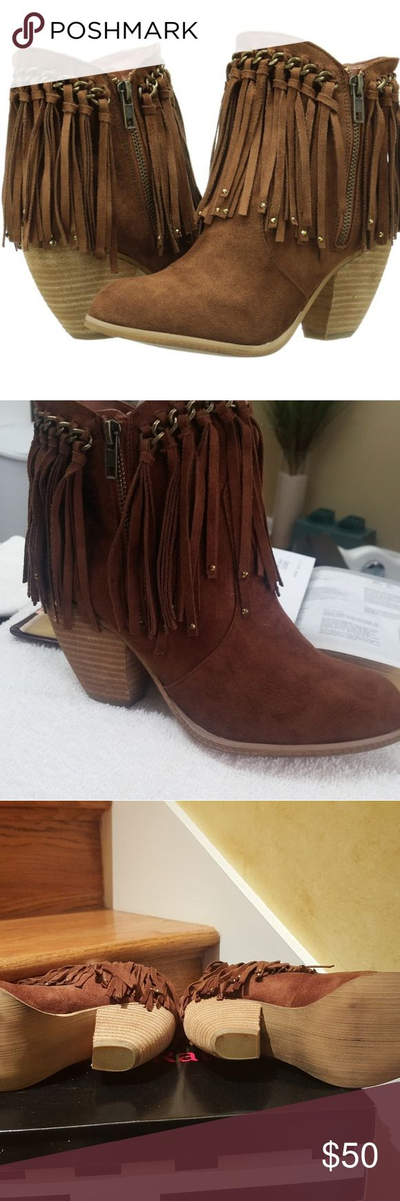 Not Rated Boots Womens Ankle Boots with Fringe Not Rated Shoes Ankle Boots & Booties