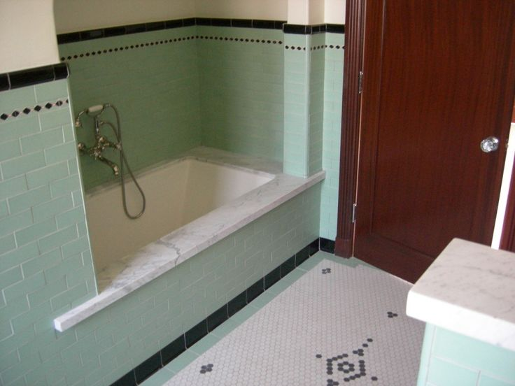 inspiring antique bathroom tile. Old bathroom redone while still holding onto that retro vibe  Love the mint tiles use of solid black tile That tub so beautiful 21 best 1920 s Home Inspiration images on Pinterest 1920s house