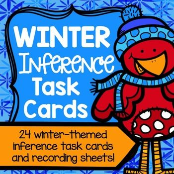 This set of Winter Inference Task Cards is perfect to help your students practice the difficult skill of inferring! The fun winter design and theme will go perfectly with the season!This set includes 24 task cards that contain a short paragraph (2-3 sentences) and a question at the end that students must answer by inferring using text evidence (riddle style).