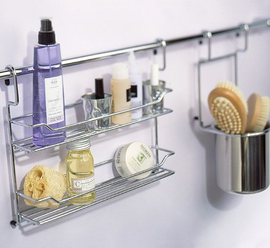 Hanging Storage Typically used in kitchens, this easy-to-install, chrome-plated rod with hanging accessories allows you to keep necessities near the sink or ... - Ideas About Shower Storage On Pinterest Clever Storage