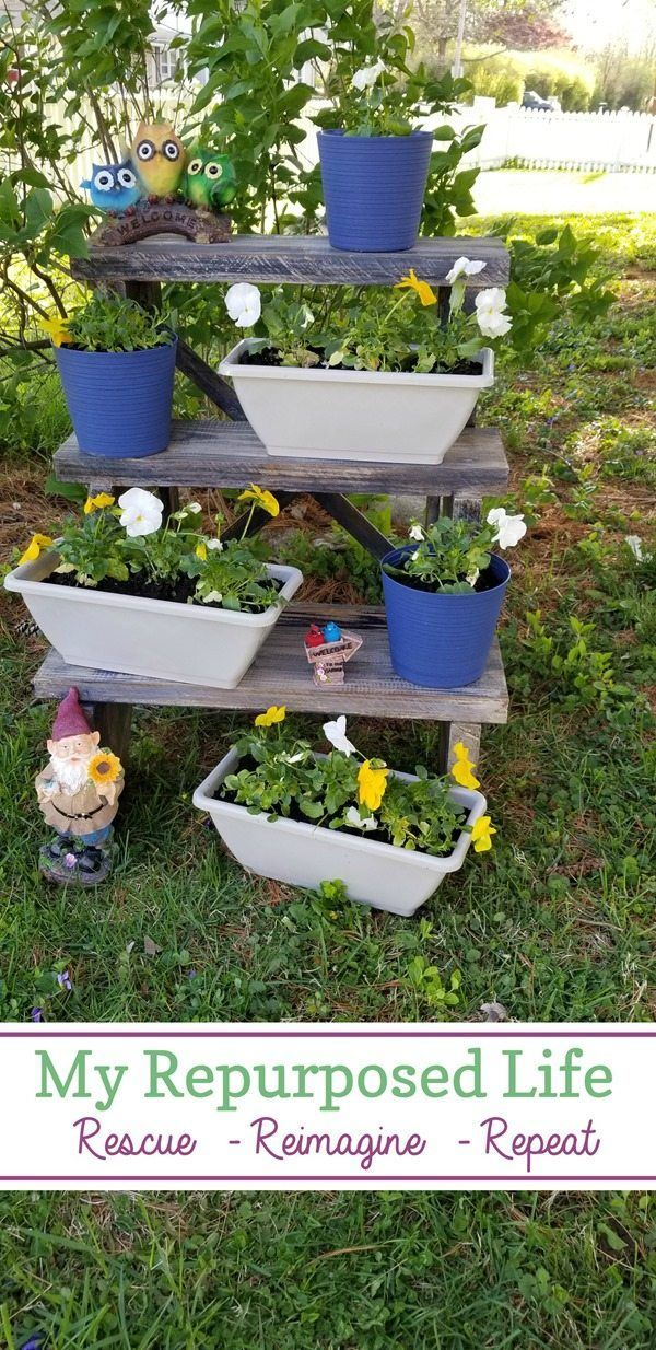aged blue three tiered plant stand made from reclaimed stair stringer MyRepurposedLife.com #planter #outdoor #plantstand #diy #repurposed