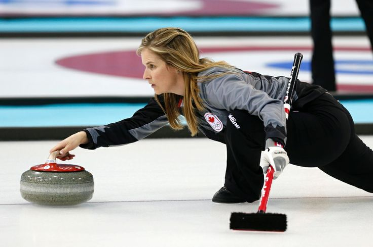 Team Canada skip Jennifer-Jones delivers the rock during the first day of curling training at the 2014 Winter Olympics in Sochi, Russia, Saturday, Feb. 8, 2014.