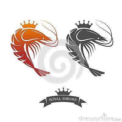 Royal shrimp sign, logo. Vector illustration in vintage style.