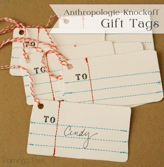Easy and Cute Gift Tags! I love the notebook stitching.