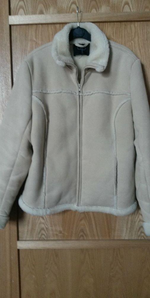 Dorothy Perkins beige sheep skin look jacket size 16  d51b053e9