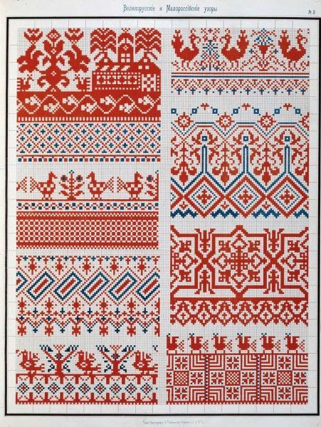 Cahier de broderies populaires russes datant de 1877/ Cuaderno de bordados populares rusos de 1877