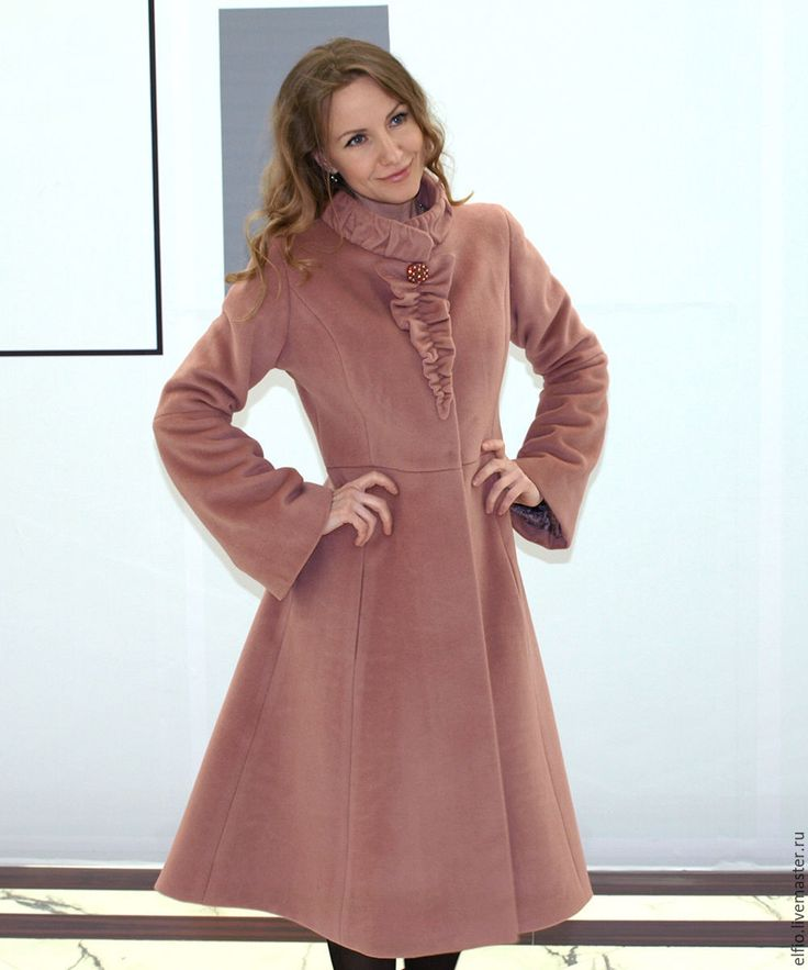 """Купить Пальто трапеция из шерсти с кашемиром """"Роза"""" - кремовый, однотонный, стильное пальто, необычное пальто"""