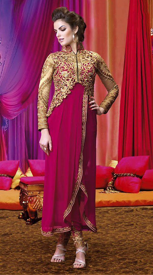 Pretty Golden Short Jacket Style Dark Pink Designer Salwar Kameez