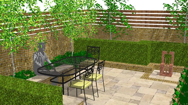 Outdoor patio ideas for small spaces designing small for Garden design for small gardens pictures