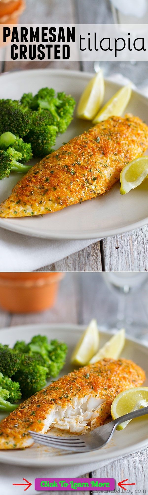 This Parmesan Crusted Tilapia is a simple fish recipe that is done in 20 minutes and will even impress non-fish lovers! #health #fitness #weightloss #healthyrecipes #weightlossrecipes
