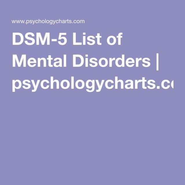DSM-5 List of Mental Disorders   psychologycharts.com