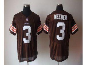 nike nfl elite browns 3 brandon weeden brown team color mens stitched jersey