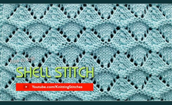 How to knit the Shell Lace stitch. Pattern includes written instructions and video tutoral